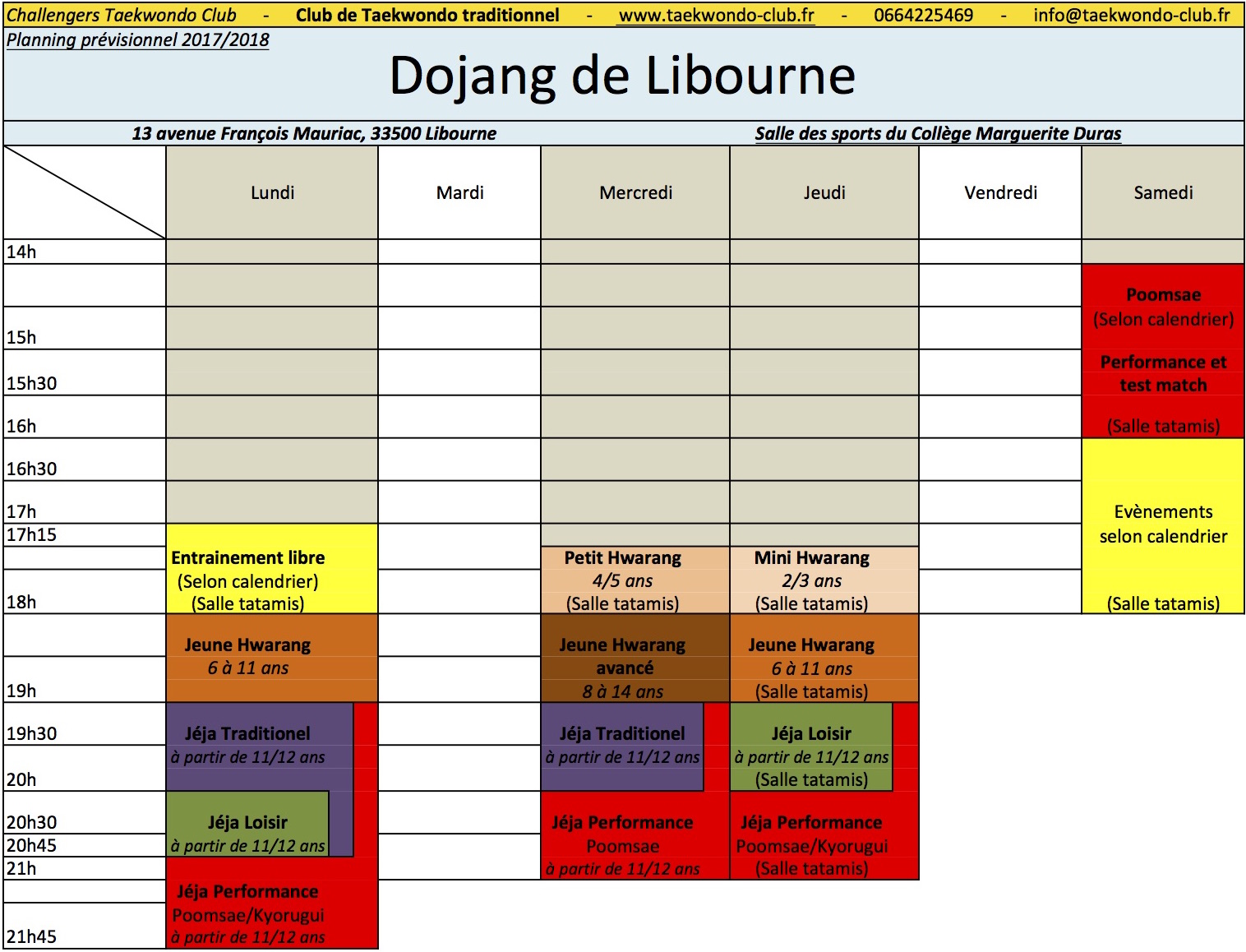 Planning 2017_2018-Libourne-taekwondo